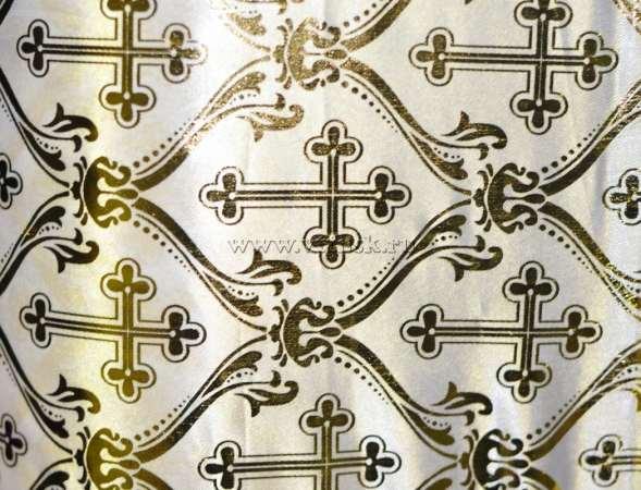 Атлас с золотым накатом БЕЛЫЙ (ПРАВОСЛАВНЫЙ КРЕСТ)