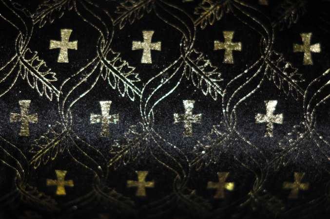 Атлас с золотым накатом ЧЕРНЫЙ (крест)