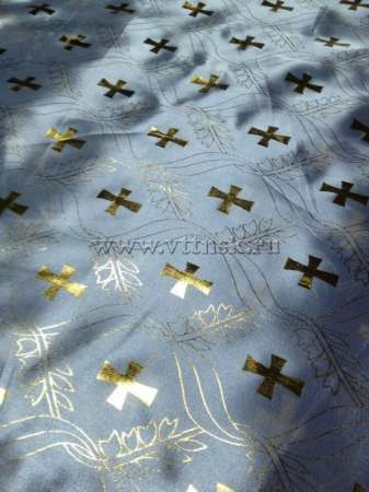 Атлас с золотым накатом БЕЛЫЙ с рисунком Крест