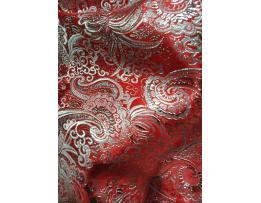 Парча с рисунком LP-05-06 Красная с серебром