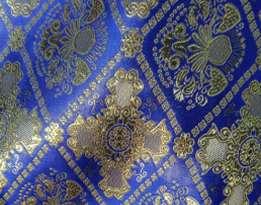 Парча (церковная) LP-15-5 Синяя с золотом