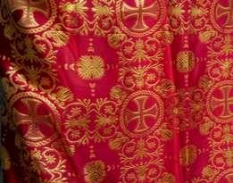 Парча (церковная) LP-11-11 БОРДО золото