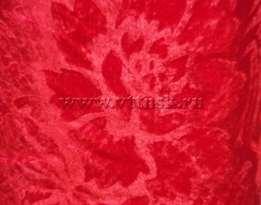 Бархат с рисунком стрейч 5,5 мп/кг (набивной, велюр) КРАСНЫЙ ( рис Е )