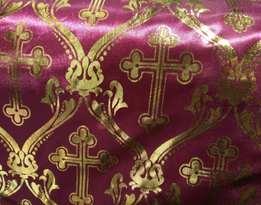 Атлас с золотым накатом БОРДО (православный крест)